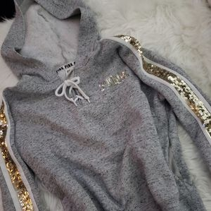 PINK SEQUIN HOODIE XSMALL